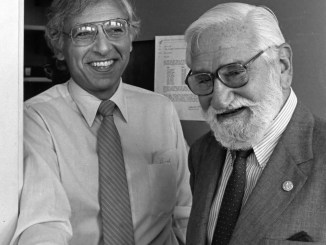 "On the left: Robert C. Gallo, M.D., former Biomedical Researcher at  the National Institutes of Health. He is best known for his work with the Human Immunodeficiency Virus (HIV), the infectious agent responsible for the Acquired Immune Deficiency Syndrome (AIDS). On the right: Albert B. Sabin, M.D., discoverer of the penicillin vaccine.  In 1961, the United States Public Health Service endorsed his ""live"" polio-virus vaccine. Prepared with cultures of attenuated polio viruses, it could be taken orally to prevent contraction of the disease. It was this vaccine that effectively eliminated polio from the United States."