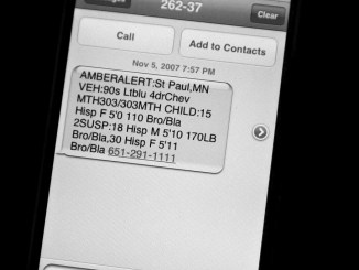 Amber alert show up on cell phones when a child is reported missing.  (Photo courtesy of Wikimedia Commons)