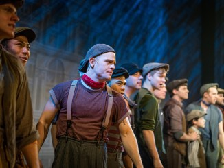 "A scene from the Fulton Theatre production, ""Newsies."""