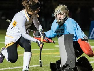 Aliza Mizak shoots at the goalie to score the winning goal for the Marauders (Photo courtesy of James Stankiewicz).