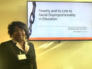 Shileste Overton Morris gave a powerful presentation on poverty and racial disproportionality on Dec. 2. Photo by Taylor Cole.