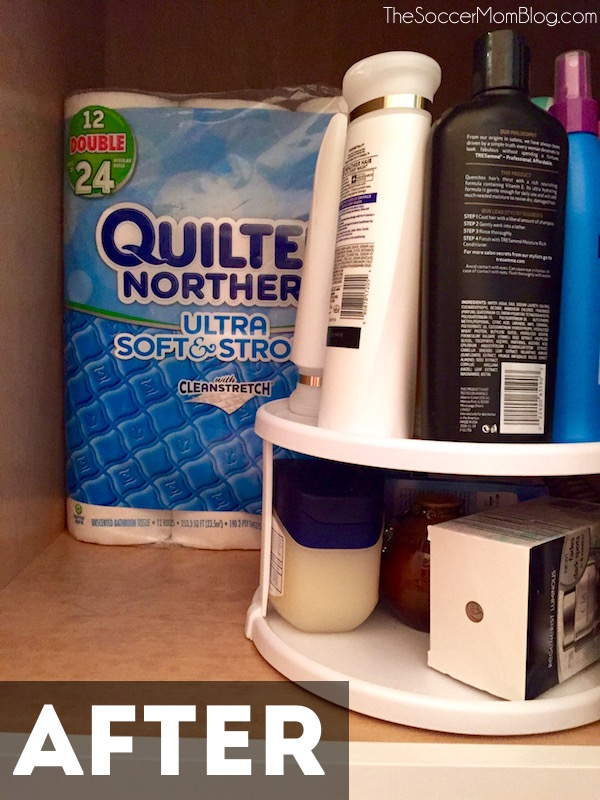 A clean, organized bathroom doesn't have to take hours or cost a ton of money! These bathroom organization hacks are EASY and it's all under $10! #CraftedExperience [ad] - The Soccer Mom Blog