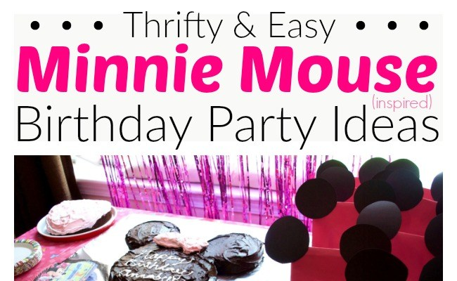 Lots of fun and easy ideas for a frugal Minnie Mouse birthday party for kids - birthday cake, decorations, goodie bags, and tips to keeps costs low!