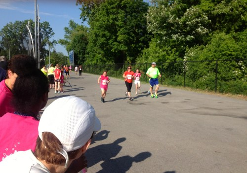 Sprinting through the finish with the rest of the race!