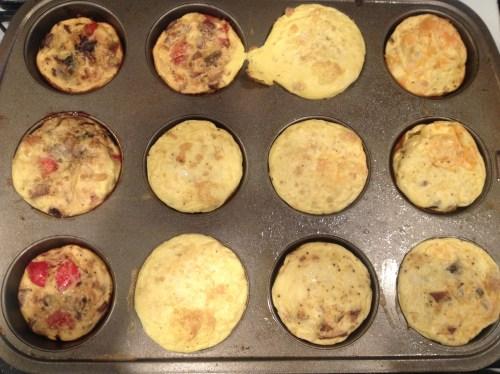 Like magic! 12 little omelets.