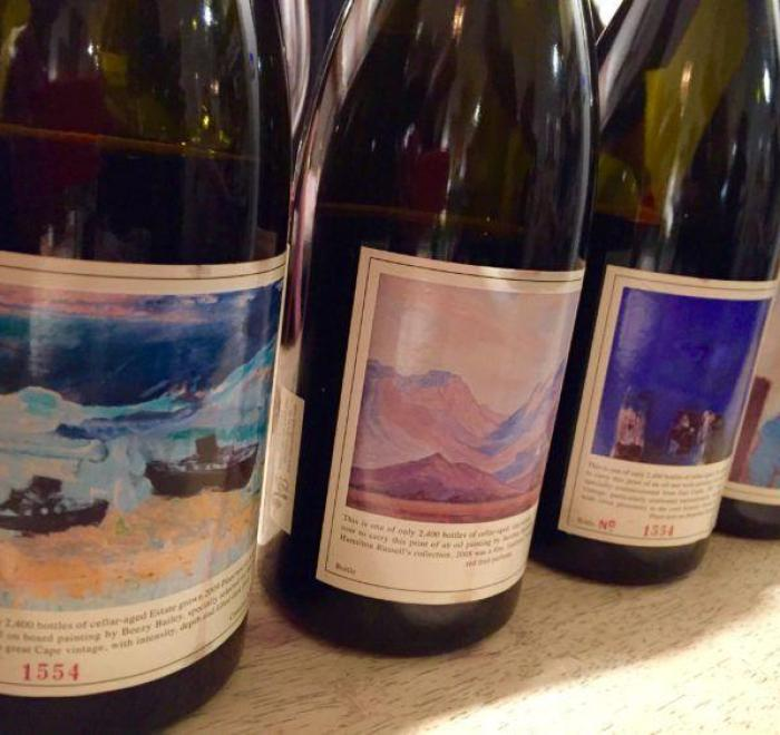 A Library of South African Hamilton Russell Pinot Noir. I love the artwork on each bottle!