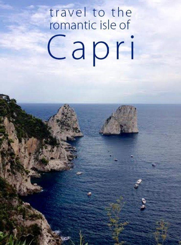 Travel to the Romantic Isle of Capri! Located in the Gulf of Naples in Southern Italy it is filled with beautiful cliffs, hotels and outdoor restaurants!