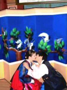 Korean Traditional Wedding Ceremony: Multicultural Couple, Family. Hanbok. Paebaek Ceremony