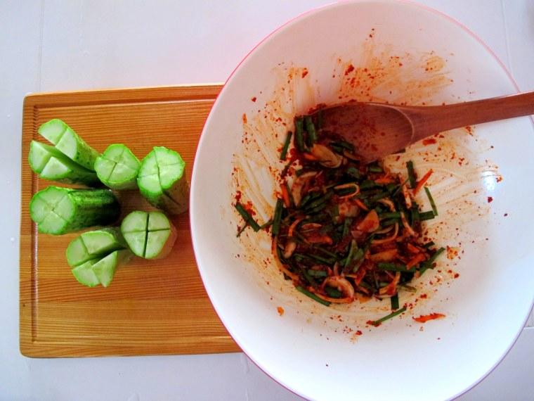 Korean Cooking: Cucumber Side Dish, Food