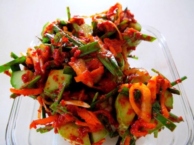 Korean Cooking: Spicy Stuffed Cucumbers, Food