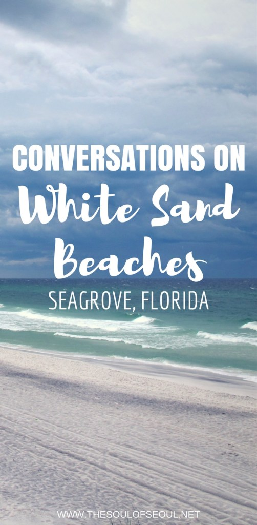 Seagrove, Florida: Conversations On White Sand Beaches: Stayed on the beaches of Seagrove, Florida. Basked in the sun and enjoyed the white sand with family. Perfect vacation destination. Seagrove Florida is the perfect beach to visit on the panhandle coast of Florida, USA. Exquisite sights and gorgeous emerald blue water to swim in.
