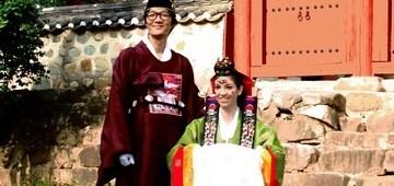 Wedding Photo: Multicultural couple in traditional Korean Hanboks in Busan, Korea