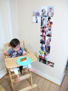 baby and pictures in the shape of a one