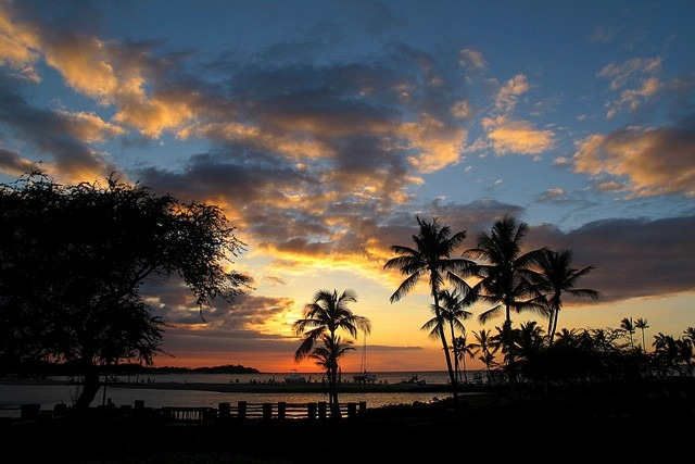 Marriott Resort Luau, Big Island, Hawaii, USA, Sunset
