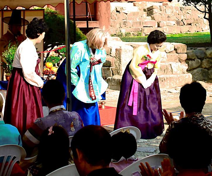 Korean Traditional Wedding: Busan, Korea, Multicultural Wedding. American Wife & Korean Husband in traditional Hanboks