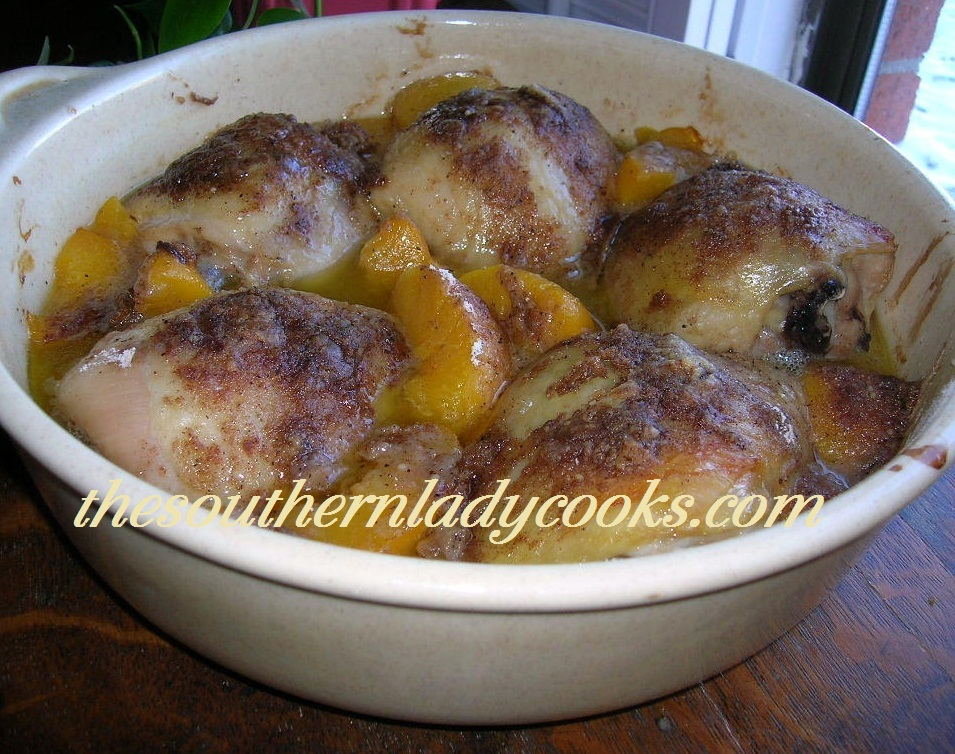 The Southern Lady Cooks – BAKED CHICKEN WITH PEACHES