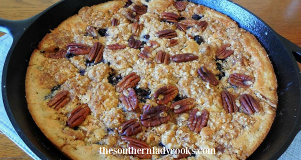 IRON SKILLET BANANA BLUEBERRY COBBLER