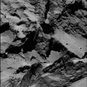 """Active regions in an area called """"Seth"""" on Comet 67P. These semi-circular pits are areas where active jets have been spotted.  Courtesy: ESA/Rosetta/MPS for OSIRIS Team MPS/UPD/LAM/IAA/SSO/INTA/UPM/DASP/IDA"""