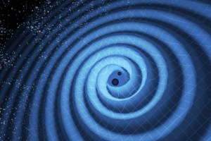 When two black holes merge, gravitational waves ripple outward as the black holes spiral toward each other. The black holes — which represent those detected by LIGO on Dec. 26, 2015, formed a single black hole 21 times the mass of the Sun. In reality, the area near the black holes would appear highly warped, and the gravitational waves would be too small to see. . Pyle/LIGO