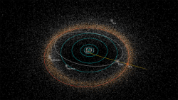Where Pluto is -- roughly at the position of Pluto, and headed for PT1 (2014 MU69). Courtesy New Horizons.