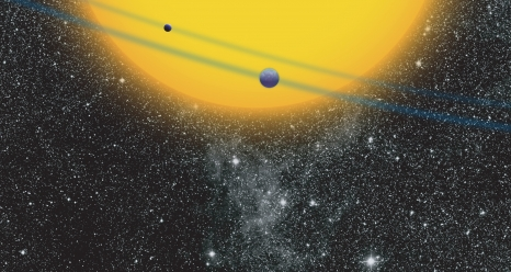 The Kepler spacecraft measured differences in brightness of a star as its planets passed between us and the star. Courtesy NASA Ames/JPL-Caltech