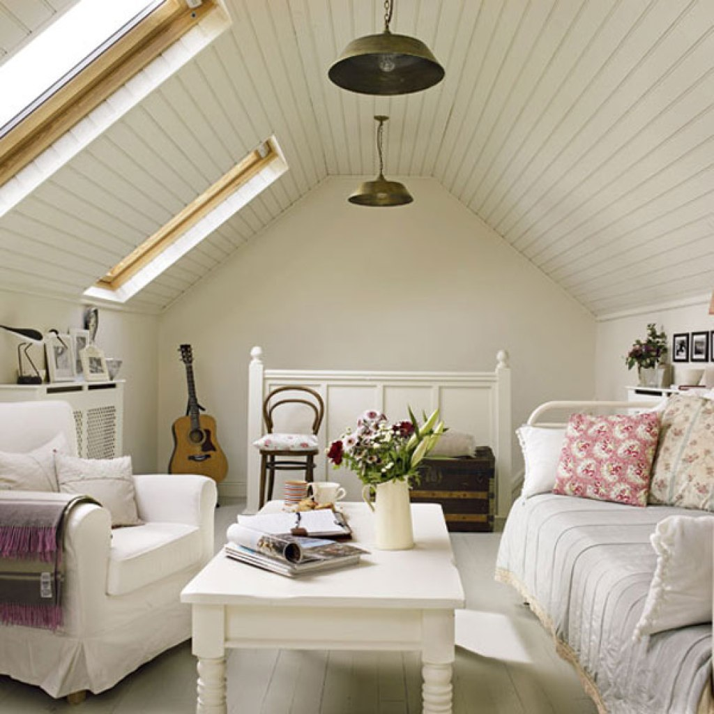 I love colours in this attic room, although all that white might be impractical for a play room!