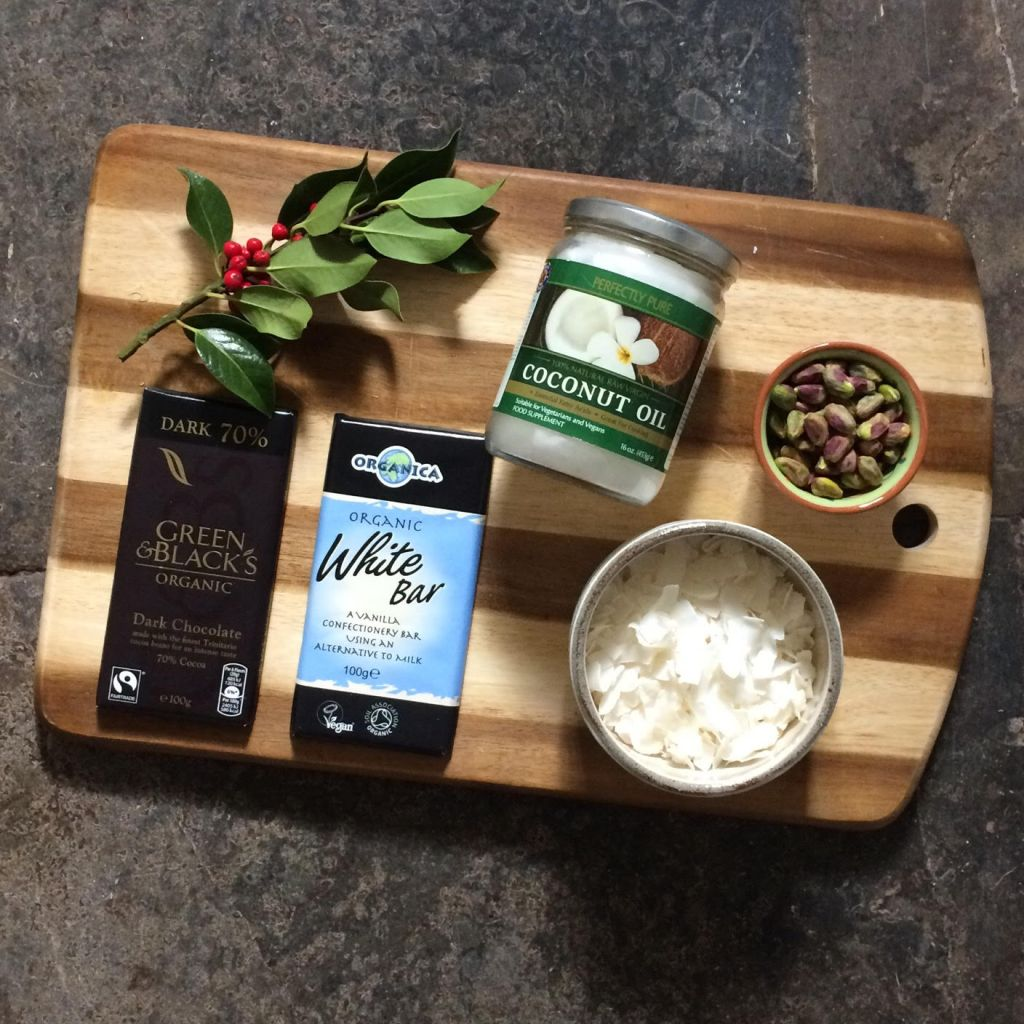 Coconut and Pistachio Vegan Chocolate Bark ingredients
