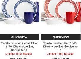 Macy's – Corelle 16 Piece Dinnerware Set $39.99 (Regular $100) + Godinger Serveware $19.99 (Regular $50)