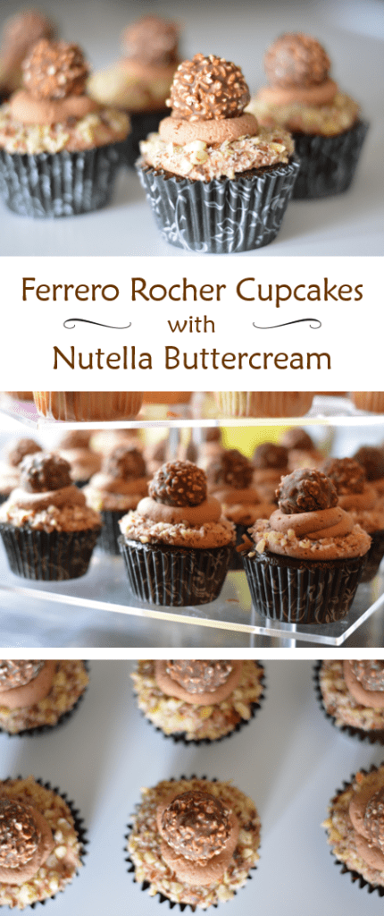 Ferrero Rocher Cupcakes with Nutella Buttercream - rich chocolate cupcakes with a chocolate hazelnut buttercream, topped with chopped hazelnuts and a Ferrero Rocher