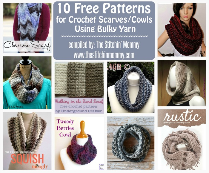 10 Free Patterns for Crochet Scarves/Cowls Using Bulky ...