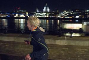 Running London in my cool headphones, channelling Wurzel Gummidge with my barnet