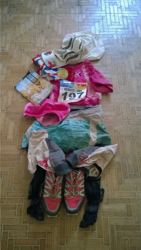 The crusty Marathon des Sables 2015 kit before the big wash