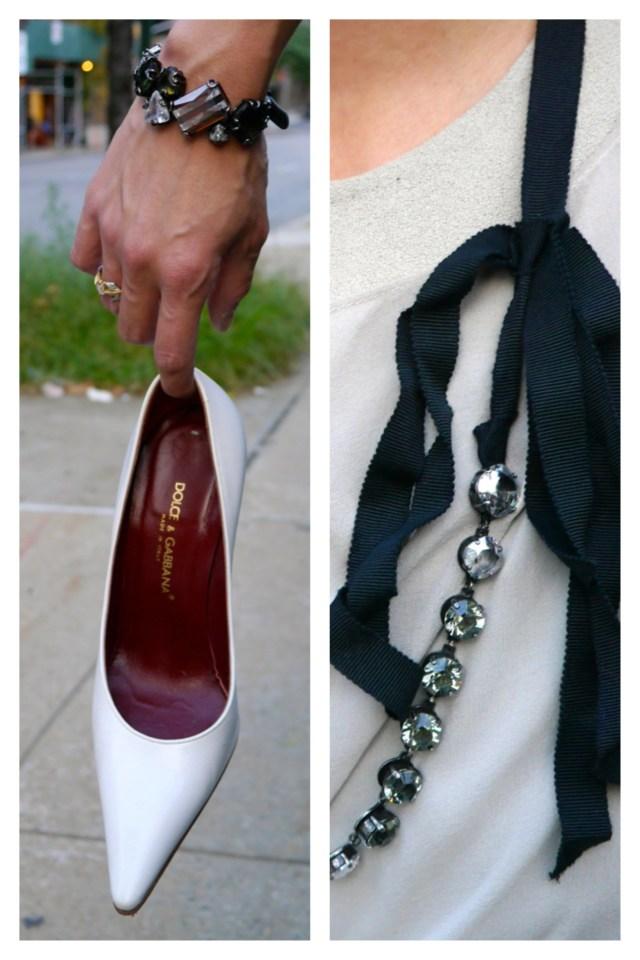 Shoes: Dolce & Gabbana (Consignment) | Bracelet: Henri Bendel | Necklace: Lanvin (Consignment)