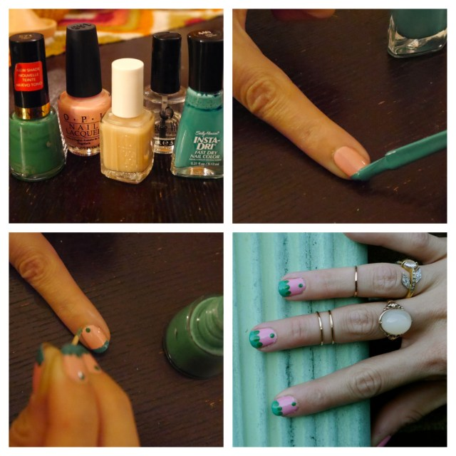 Clockwise from top left: The polishes I used; Striping the tip; Final product; Using a toothpick to make some dots.