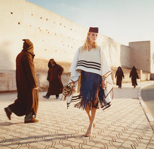 Everyone (but the model) in this fashion shoot is wearing a djellaba. (Appeared in Porter magazine)