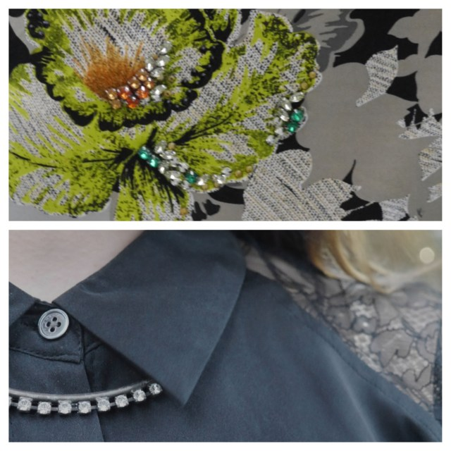 Top: Detail of Topshop skirt. Bottom: Close-up of Equipment silk blouse and Dannijo necklace.