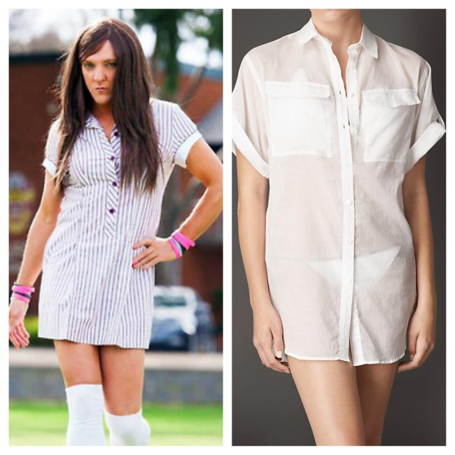 Don't kid yourself: These dresses are basically the same. Left: Ja'mie: Private School Girl | Right: $325 Burberry Shirtdress