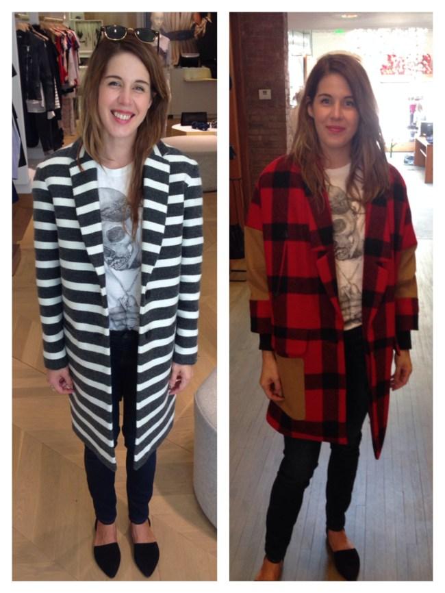 Left: Striped Coat at Maje   Buffalo Plaid Rachel Comey Coat at Bird
