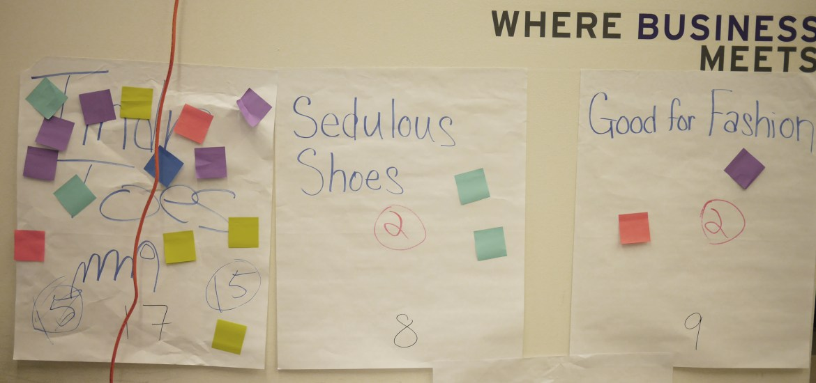 Remnants of the teams' brainstorming sessions.