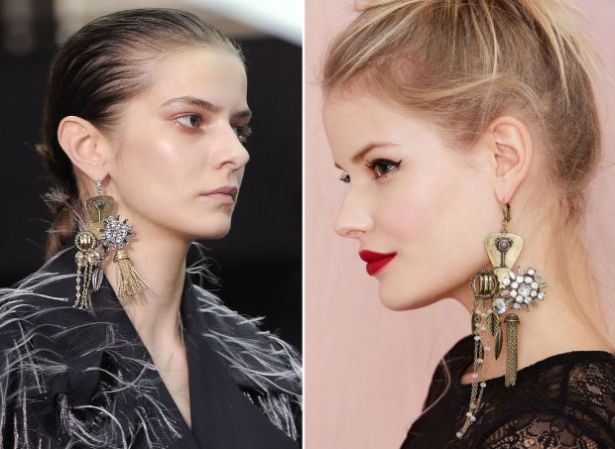 Left: The Celine earrings. | Right: Nasty Gal's version.