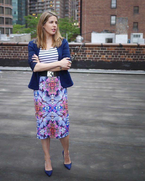 Striped Shirt: St. John | Navy Blazer: Love, Ady (Lord & Taylor) | Belt: Miu Miu (Consignment) | Skirt: Milly for Kohl's | Shoes: Manolo Blahnik (Saks)