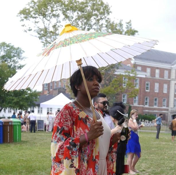 Parasol and kimono-style jacket.