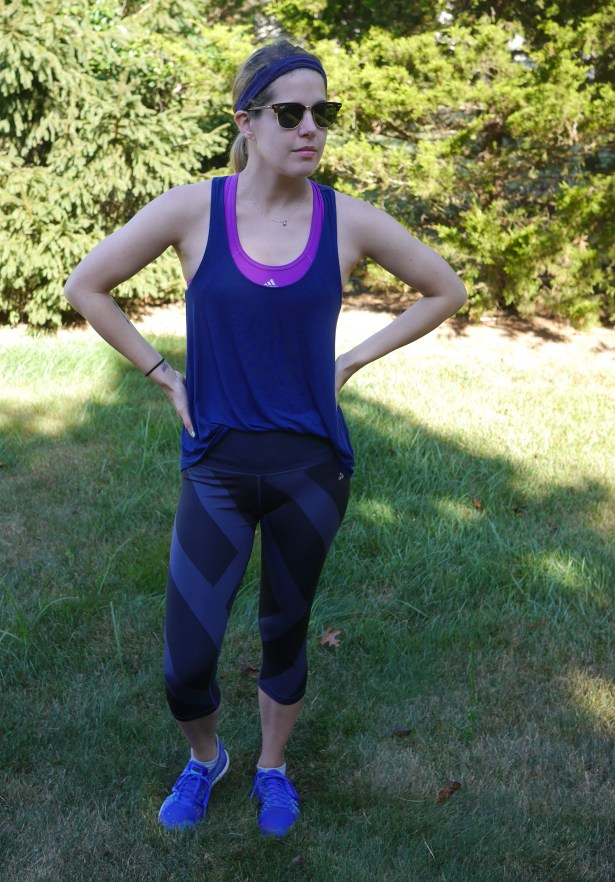 Blue Tank: American Eagle | Purple Sports Bra: Adidas | Leggings: Adidas | Shoes: Nike | Headband: scünci | Sunglasses: Ray-Ban
