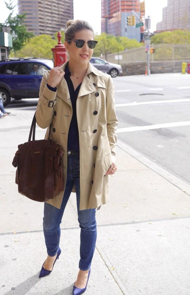 Trench Coat: Burberry | Navy Button-Up: Reformation | Jeans: Madewell | Handbag: Prada | Navy Heels: Manolo Bahnik