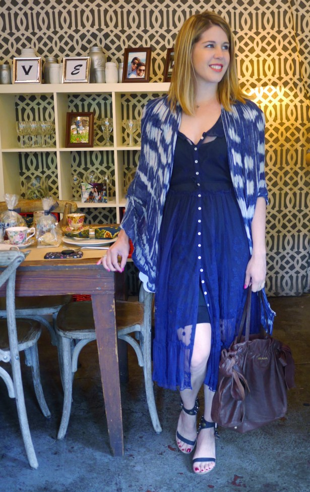 Navy Dress: Free People | Underthings: American Apparel | Shawl: Secondhand | Sandals: Jeffrey Campbell