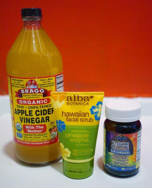 From left to right: Bragg's Apple Cider Vinegar; Alba Botanticals XXX, XXX