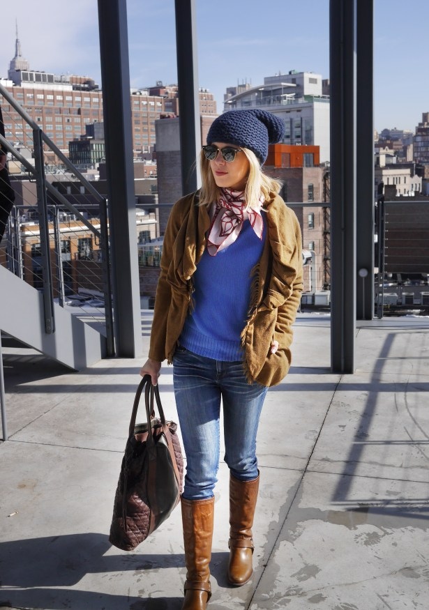 Tweed Jacket: Vivienne Westwood (Consignment) | Scarf: Valentino | Sweater: Trademark | Hat: Wildfox | Jeans: Madewell | Boots: Frey | Tote: AllSaints | Sunglasses: Ray-Ban