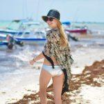 silver neoprene bikini, fringe kimono in Playa del Carmen // thestylesafari.com
