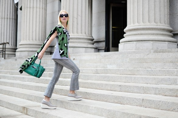 Stefanie of The Style Safari wears the menswear trend for fall, plaid suiting, green rip and repair coach swagger // thestylesafari.com