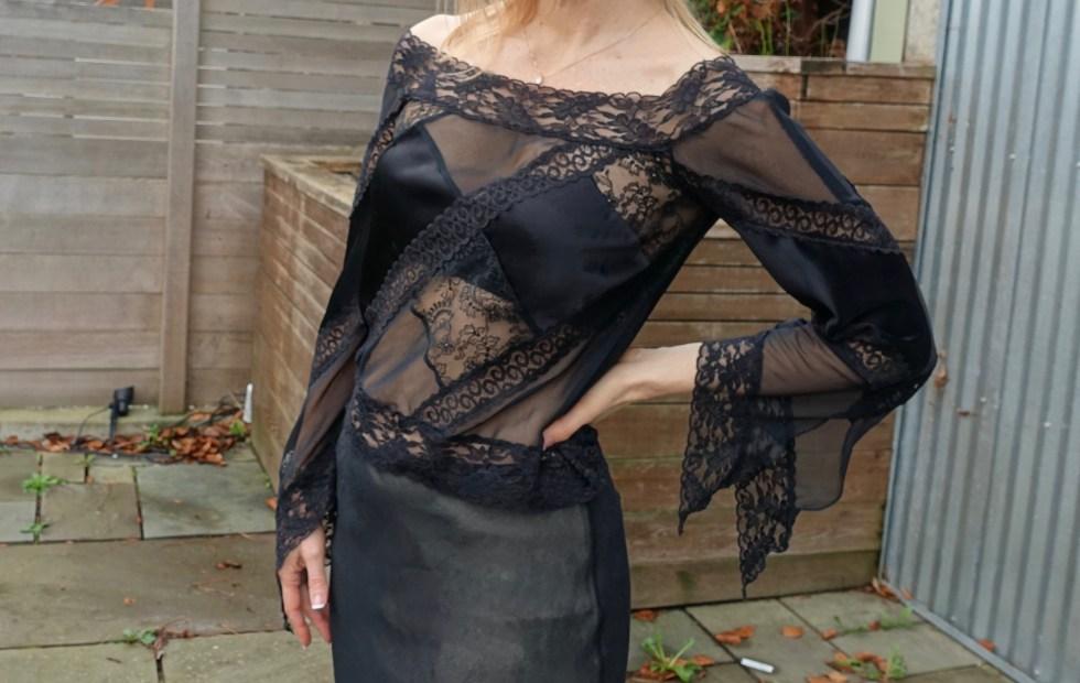 Black bra with sheer black top